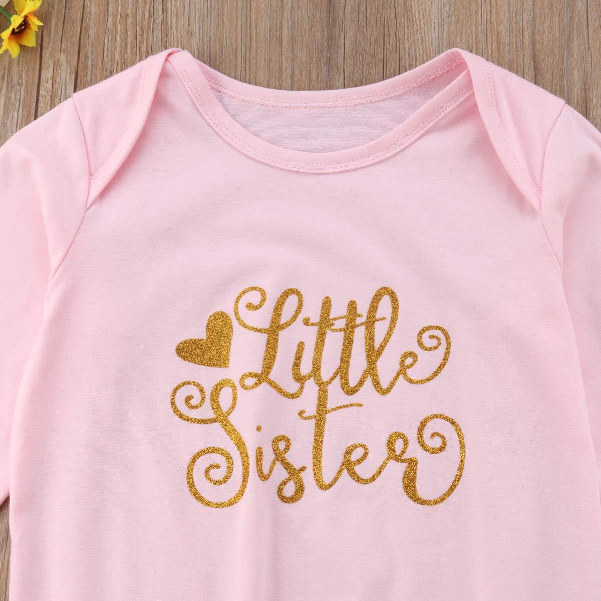 ZWINZ Little Sister Big Sister Matching Long Sleeve Sleeping Bag and Ruffle Dress Tops Set