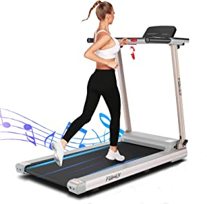 FUNMILY Folding Treadmill, 2.25HP Electric Portable Treadmill with Table Holder & Bluetooth Speaker & Large LCD Monitor, Cardio Workout Fitness Running Machine for Office Home Gym