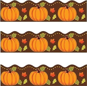 Amazon Com Thanksgiving Pumpkin Scalloped Bulletin Board Border Trim For Classroom Decoration 36 Feet Office Products