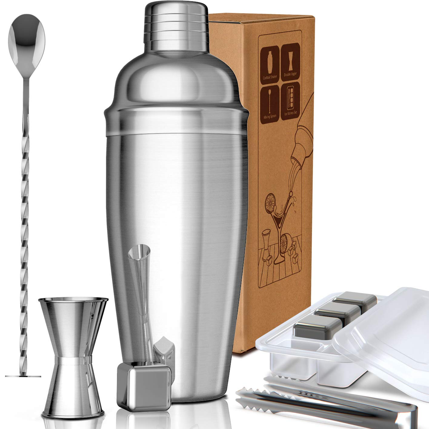 COXIBAR 9 Pcs Cocktail Shaker Bar Set Stainless Steel Bar Tools With Whiskey Ice Stone Double Jigger Mixing Spoon Ice Tongs Professional Bartender Kit for Martini