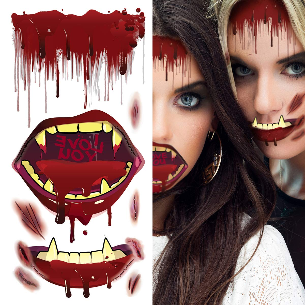 Supperb Temporary Tattoos – Bleeding Vampire Mouth Wound, Scar Bloody mouth and teeth Vampire Zombie Halloween makeup Halloween Tattoos
