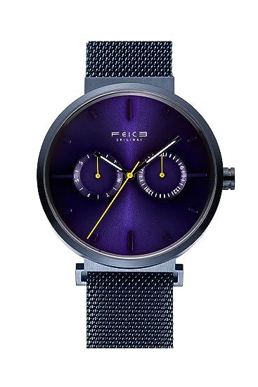 FEICE Reloj para Hombres Reloj Automático Mecánico Reloj Bauhaus con Esfera Cepillado Reloj Multifuncional con Calendario