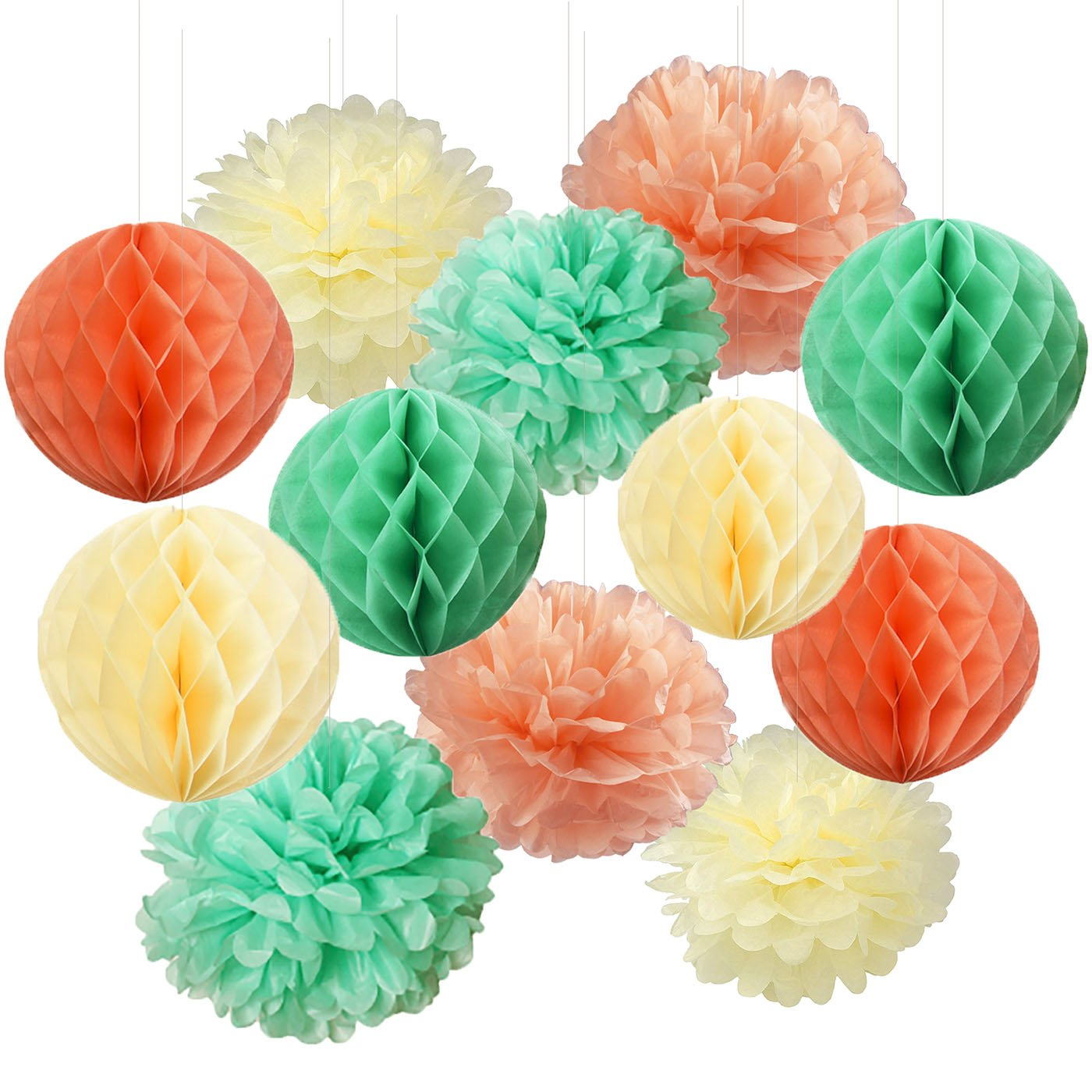 Furuix Mint Green Peach Cream Balls Honeycomb Tissue Papier de soie Papier Pom Pom Hanging décorations en papier pour Baby Shower Bridal Shower Décor de fête d'anniversaire de mariage Décor Décor Wall Hanging Décoration Mint Décor vert