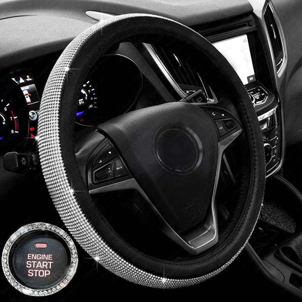 Inner Diameter 3.2cm Bebliss Diamond Steering Wheel Cover With Bling Bling Crystal Rhinestones Anti-Slip Wheel Protector Outer Diameter 4cm
