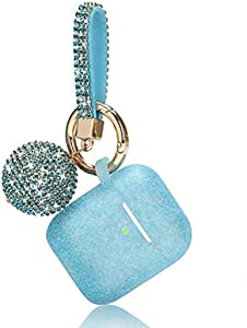 Case for Airpods, Filoto Bling Airpod Silicone Case Cover Skin, Air Pods Protective Glitter Case with Shiny Disco Ball Keychain, Scratch Proof and Drop Proof for Apple Airpods 2&1 (Peacock Blue)