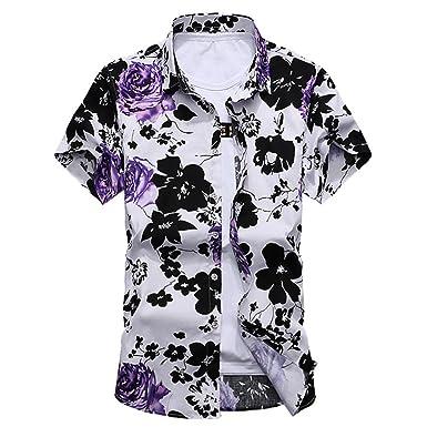 8b4aa77522fd0 YuanDian Men Summer Beach Floral Shirts Retro Printed Plus Size Slim Fit  Short Sleeve Button Down