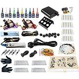 Hommii profesional del tatuaje completo kit de la máquina Set 2 ametralladoras de 10 colores / tinta tintas tatuaje de la aguja de la máquina Set