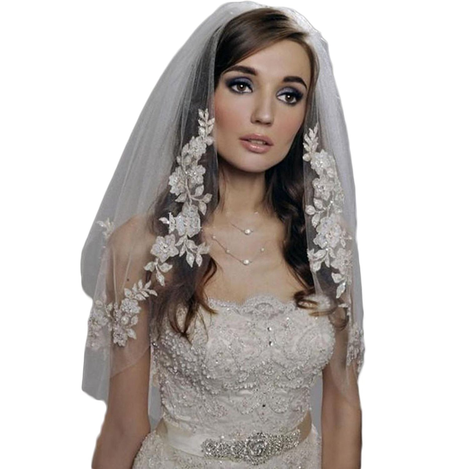JQLD Beaded Lace Edge Short Veils with Comb Two Tiers Tulle Wedding Bridal Veil (Small, Ivory)