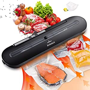 Vacuum Sealer Machine, Automatic Food Sealer with 10 Vacuum Sealer Bags for Food Storage, Dry & Moist Food Modes, Sous Vide, Easy to Clean, Compact Design
