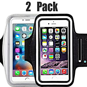 [2pack] Water Resistant Sports iBarbe Armband Key Holder Night Reflective iPhone X 8 Plus 7 Plus, 6 Plus, 6S Plus,Galaxy s8,s8+,S6/S5, Note 4 etc.Running Exercise (Black+Silver)