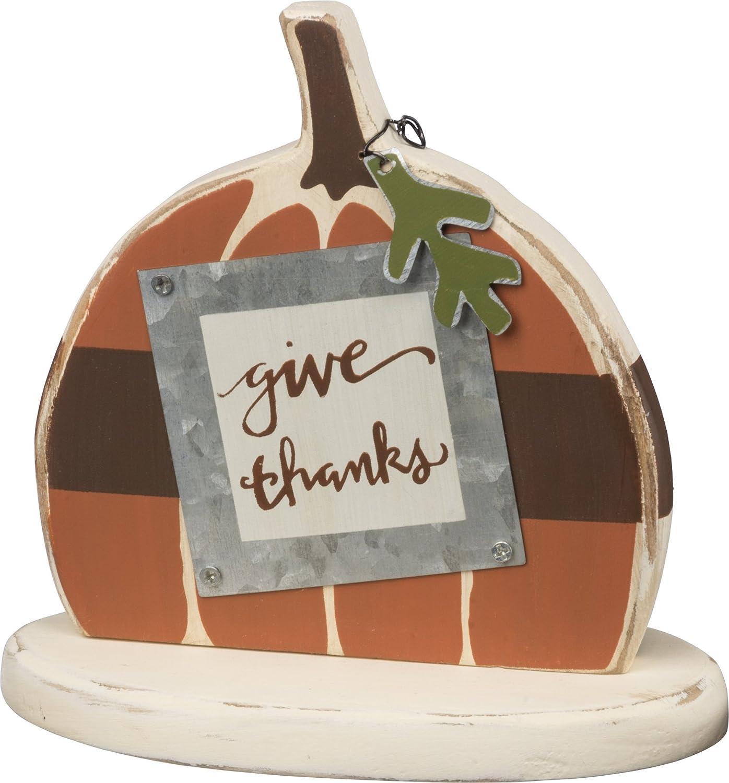 PBK Fall Decor - Sm Chunky Wood Give Thanks Prim Pumpkin Primitives By Kathy