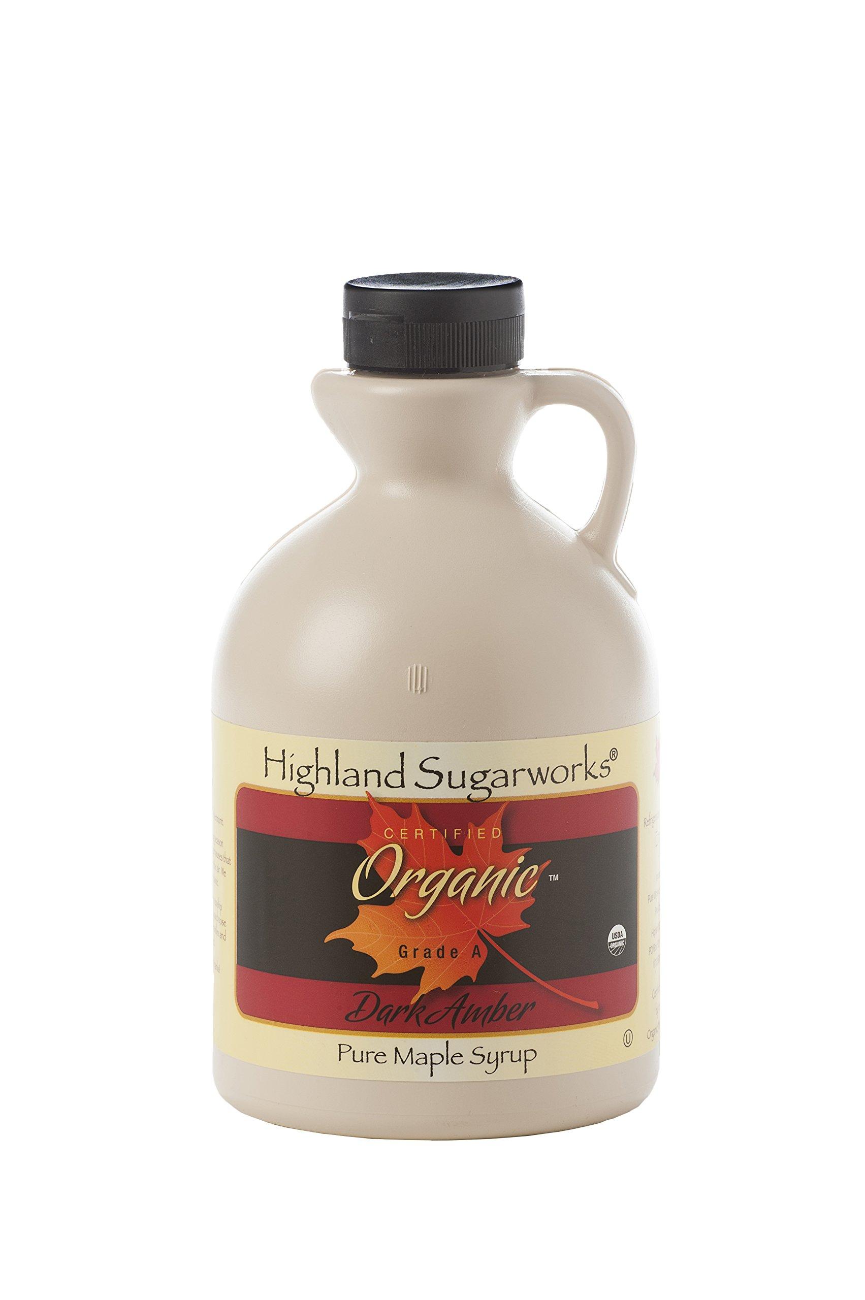 Highland Sugarworks Jug 100% Maple Syrup Pure Grade A Organic Dark with Robust Taste 32oz.