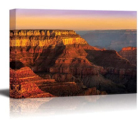 Canvas Prints Wall Art – Colorful Sunrise at Grand Canyon National Park, Arizona, USA Modern Wall Decor Home Decor Stretched Gallery Canvas Wraps Giclee Print Ready to Hang – 24 x 36