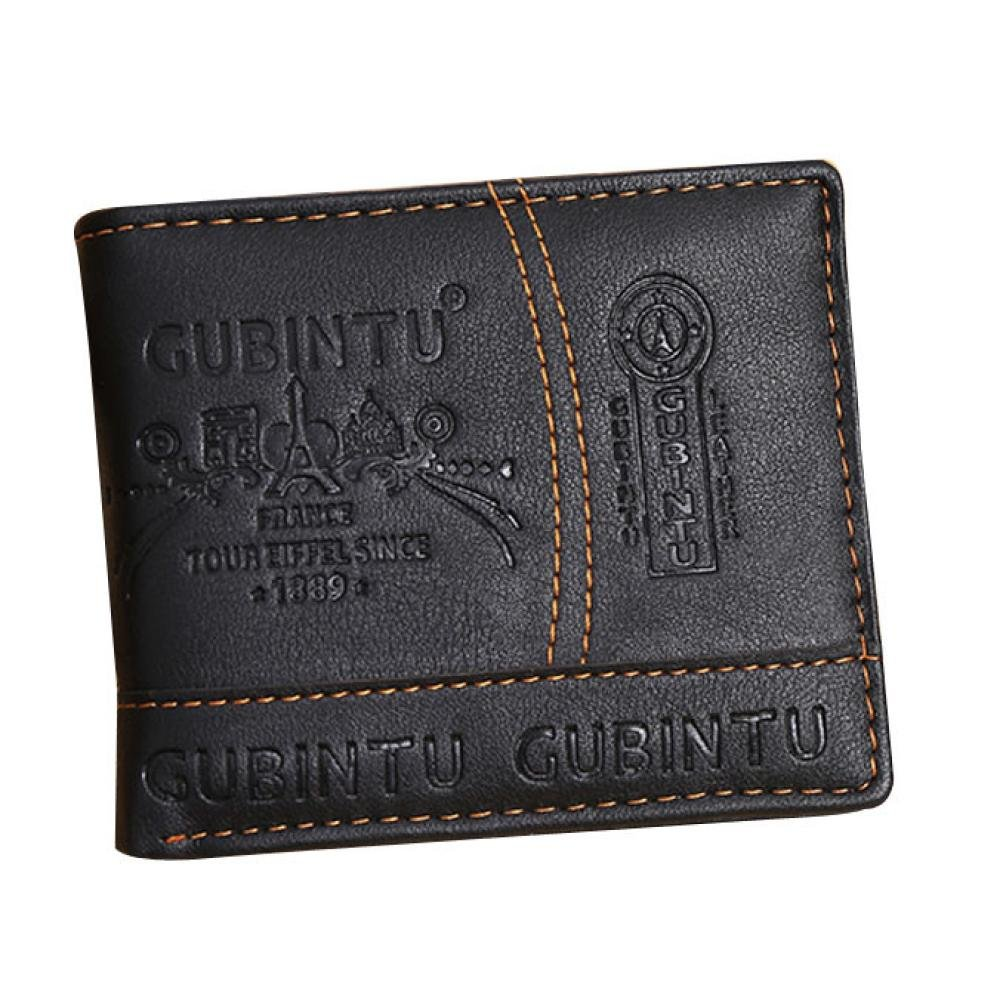 Hemlock Men Bifold Wallet, PU Leather Business Card Holder Wallet Purse (Black)