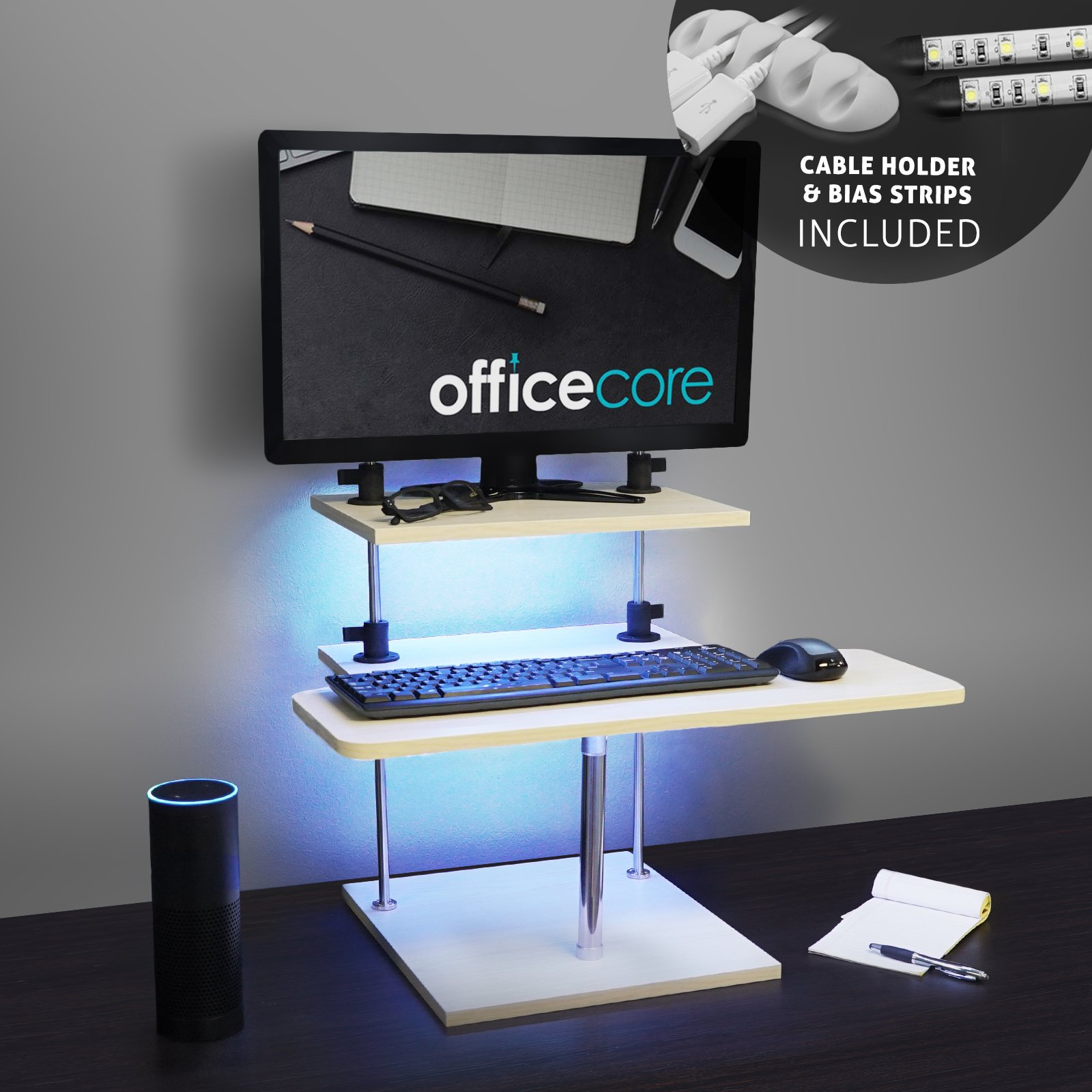 OfficeCore Standing Desk Wood Design with MultiColor LEDs for Laptop or Desk Top Computer - Office, Home, Work Station, Dorm Room - Height Adjustments Clamps Bar, Keyboard Tray, Monitor Stand, Manual