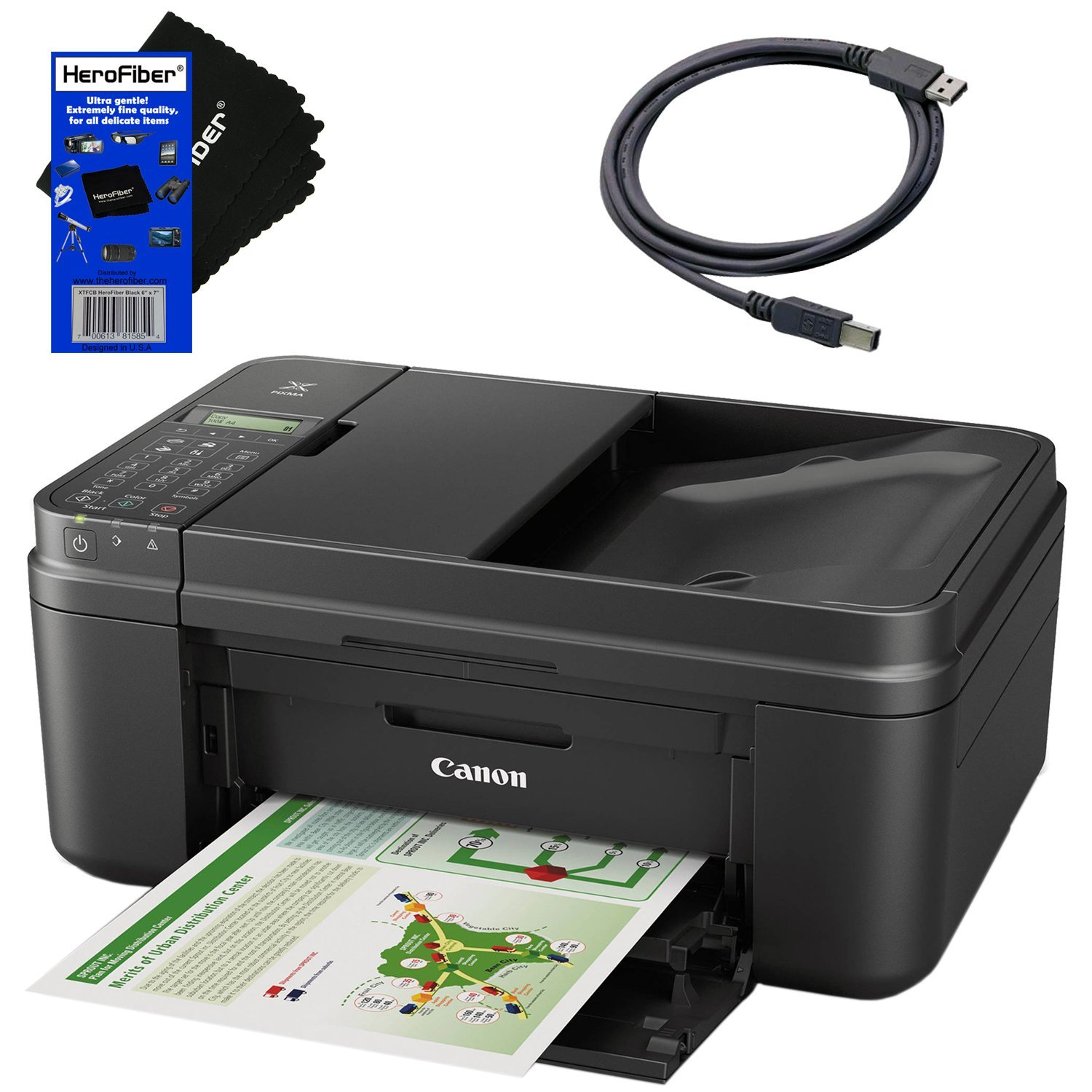 Canon all in one wireless printer, Inkjet PIXMA MX492 (Black) with Print, Copy, Scan, Fax & Google Cloud Print Compatible + USB Printer Cable + HeroFiber Cleaning Cloth by HeroFiber