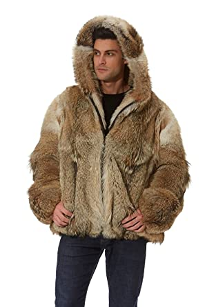 7019dab2b01 Madison Avenue Mall Real Coyote Fur Jacket Men Hooded Parka Size 40