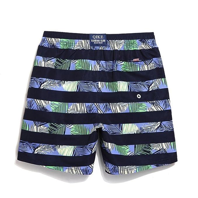 Zgsjbmh Pantalones de Playa de Secado Rápido Pantalones Cortos de Baño de Costa Suelta de Vacaciones Pantalones Cortos de Baño a Rayas Impermeables: ...