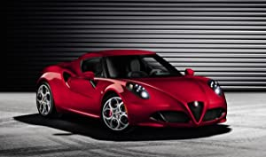"Alfa Romeo 4C (2014) Car Art Poster Print on 10 mil Archival Satin Paper Red Front Side View 36""x24"""
