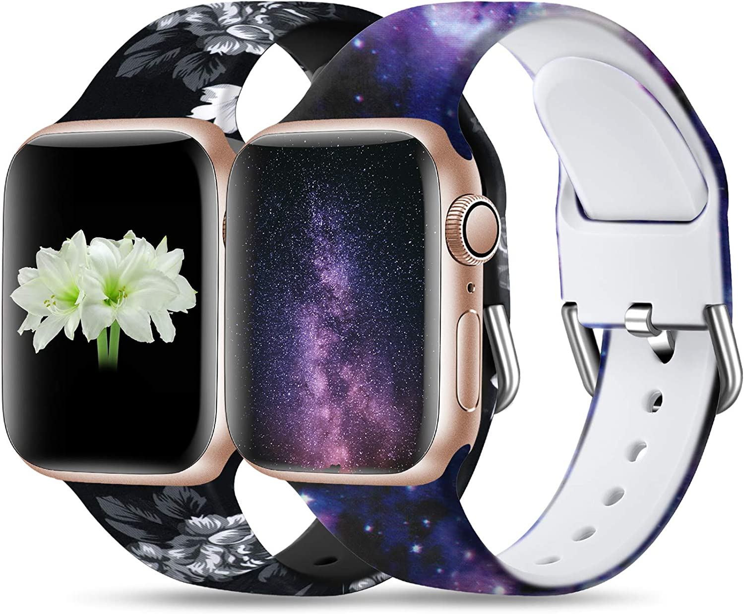 Dirrelo Compatible for Apple Watch Bands 40mm 38mm Soft Silicone Pattern Printed Band Strap for iWatch SE & Series 6 & Series 5 4 3 2 1 Women Wristband, S/M 2-Pack Grey Floral & Starry Night