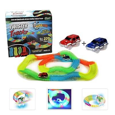 Tracks Magiques Circuit de Voiture Flexible, Kuultoy Track Car Magic avec Design Modulable, une Piste de Course de 220 Pièces au Néon, Voiture de Circuit Cool pour Enfants à Partir de 3 Ans