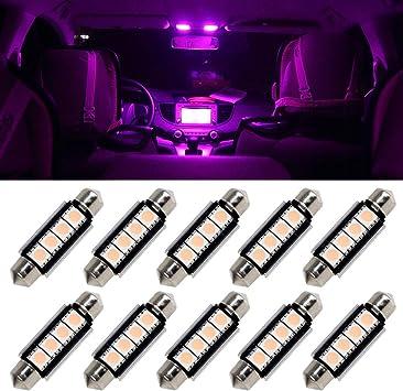 10pcs Pink Purple 43mm 42mm Festoon LED Bulbs Interior Lamps 211-2 212-2 214-2