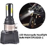 FEZZ Lampadina LED 40W H4 H6 S2 BA20D P15D25-1 per Faro Moto Lampadine Luce con Ventilatore di Raffreddamento 4 LED Hi Lo Fascio 4600Lm 6000k