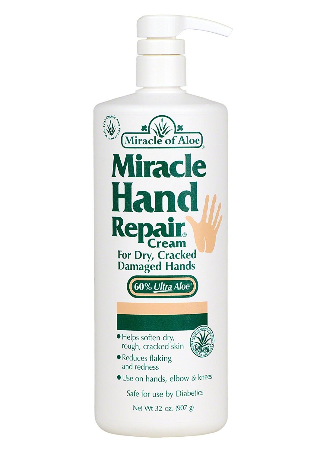Miracle of Aloe, Miracle Hand Repair Cream with 60% UltraAloe 32 ounce bottle with pump