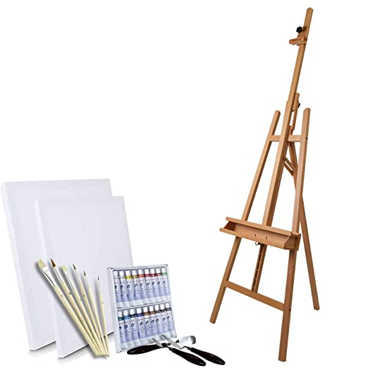 Artina - Set de Pintura de 30 pzas. - Caballete de Estudio Barcelona, Colores al óleo, lienzos, Pinceles y Cuchillos