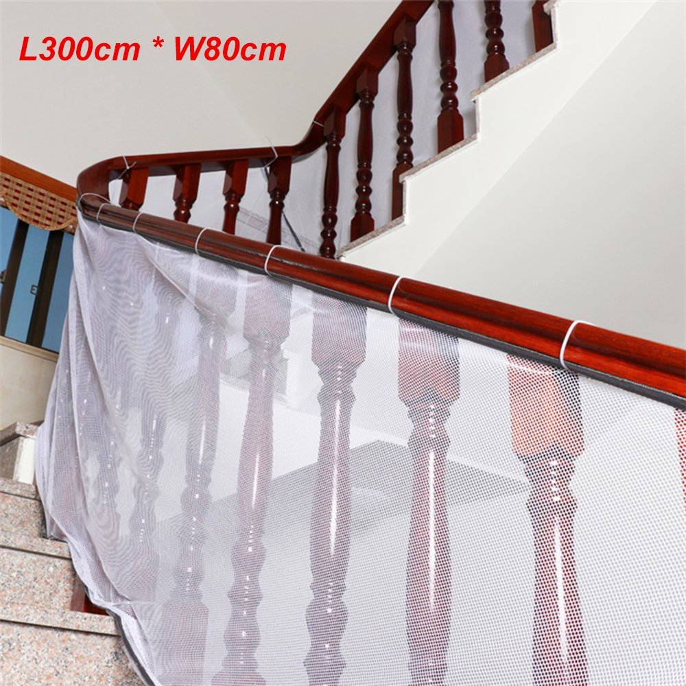 Eleoption Child Safety Rail Net for stairs, Stairway Safety Net for Kids Pet Toy Safety on Indoor/Outdoor Stairs, Balcony, or Patios