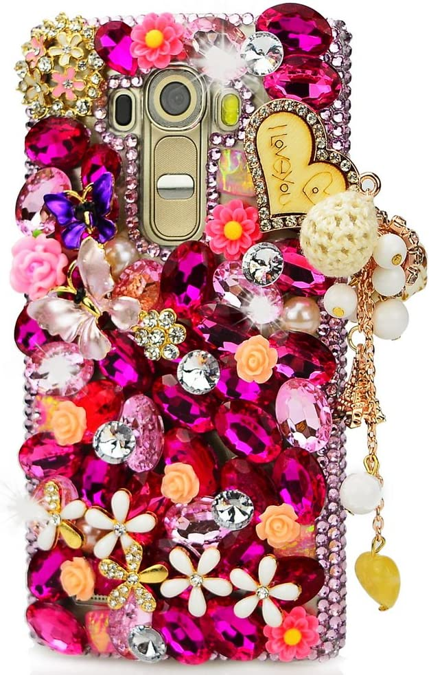 STENES LG G Stylo 2 Plus/LG Stylus 2 Plus Case - [Luxurious Series] 3D Handmade Shiny Crystal Bling Case with Retro Bowknot Anti Dust Plug - Butterfly Flowers Heart Pendant/Red