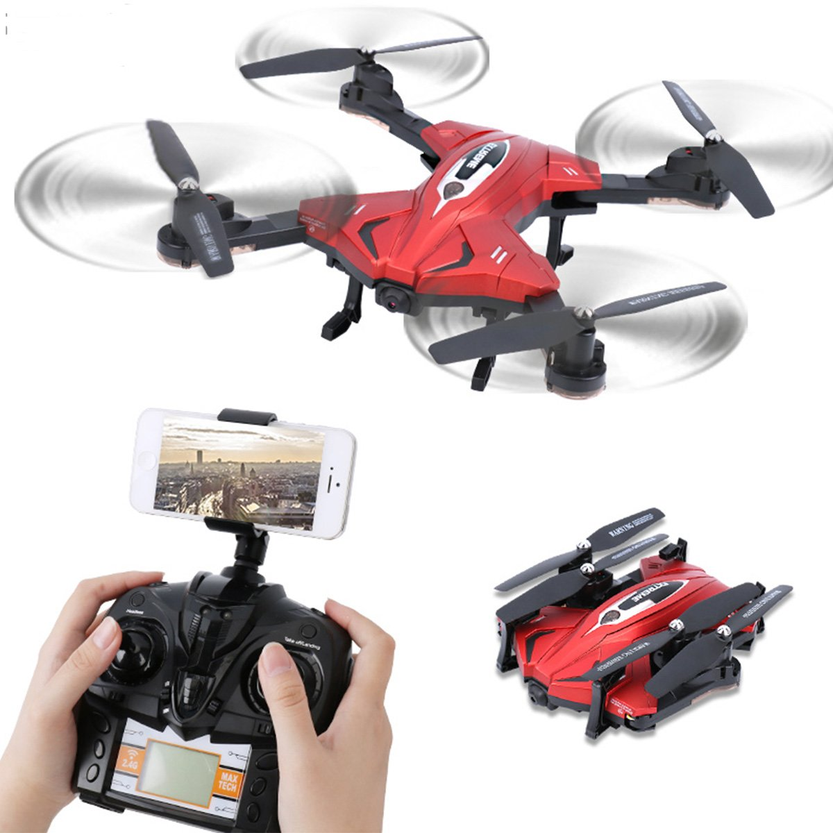 Dwi Dowellin Folding Drone With Camera 720P Live Video WIFI FPV Altitude Hold 2.4G 4CH 6Axis RC Quadcopter Flight Plan Route Setting TK110HW Red by Dwi Dowellin