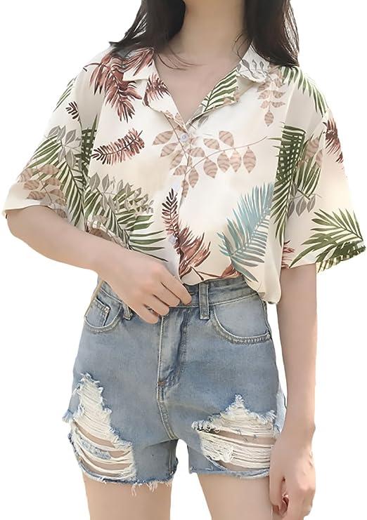 Camisas Mujer Elegante Verano Chiffon Manga Corta Camiseta Impresión Floral Basic Ropa Anchas Casual Moda Playa Hawaiana Tops One Size Ropa (Color : Color, Size : One Size): Amazon.es: Ropa y accesorios