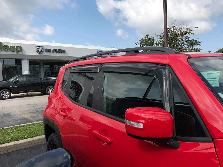 4pcs Spurtar Window Visors Side Wind Deflectors fits Jeep Renegade 2015 2016 2017 2018 2019 Tinted Ventvisor Sun Shade Wind /& Rain Guard
