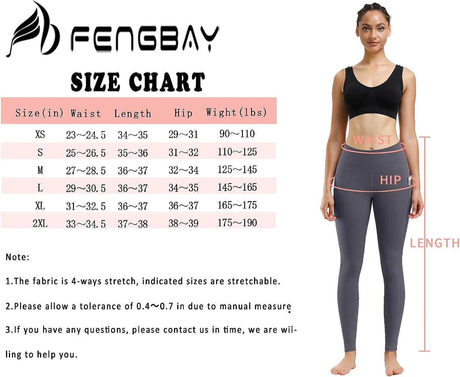 Fengbay 2 Pack High Waist Yoga Pants, Pocket Yoga Pants Tummy Control Workout Running 4 Way Stretch Yoga Leggings: Clothing