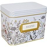 Elysian Hills Tin Recipe Box Wild Flowers Print - Includes 100 4X6 Cards, 12 Dividers - Beautiful Decorative Tin Box Gift Set