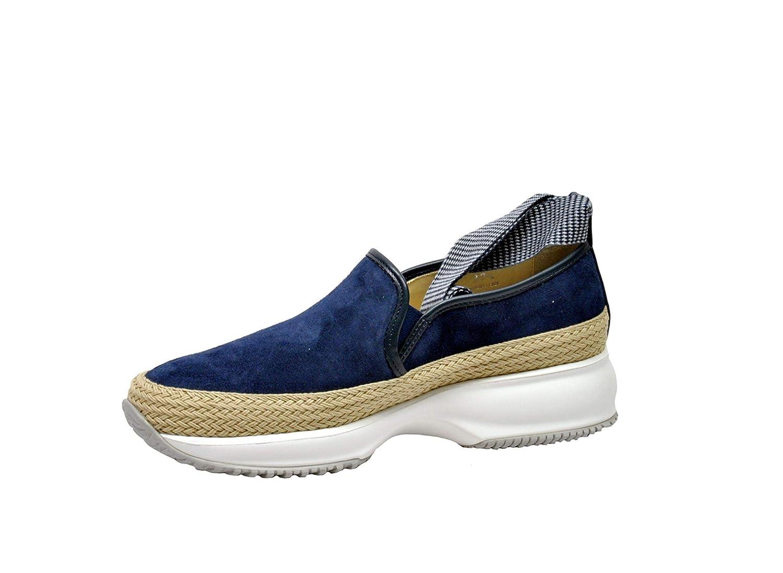 HOGAN Womens HXW00N0AG20I7FU803 Blue Suede Sneakers