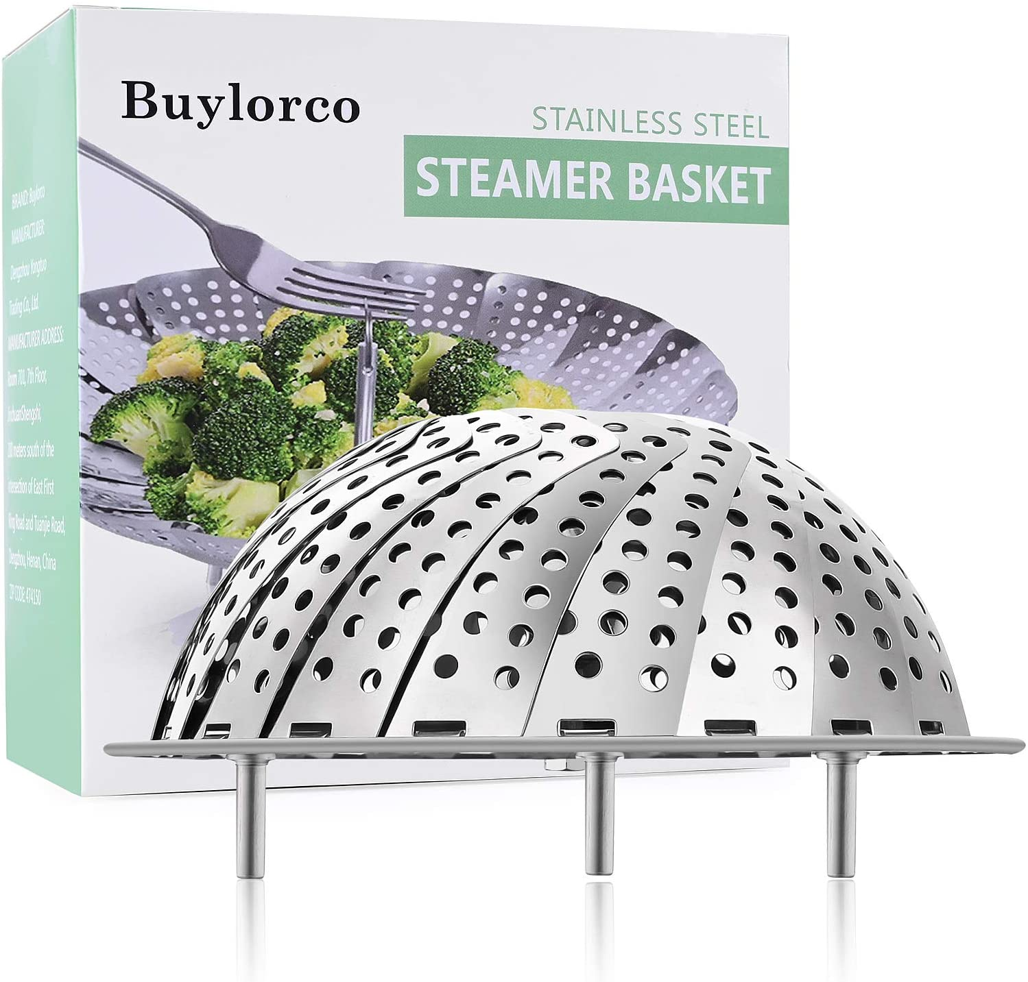 Buylorco Steamer Basket Stainless Steel Folding Vegetable Steamer Insert Steamer Cookware for Veggie Seafood Cooking (fit for 5