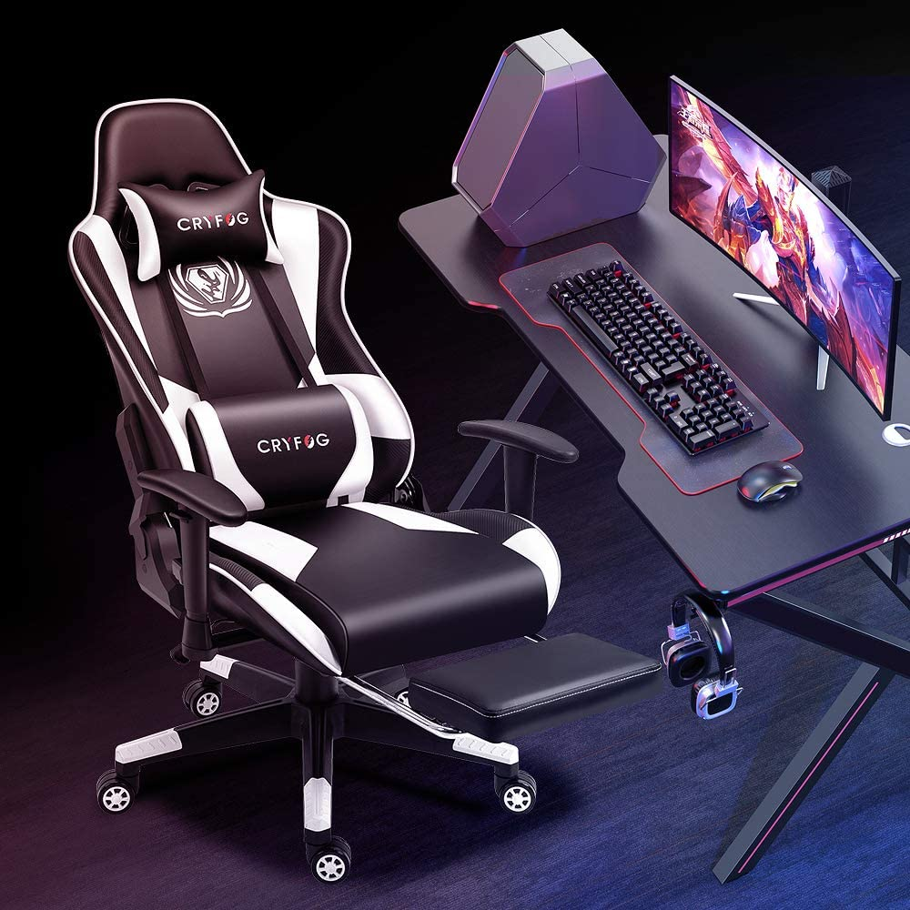 CRYfog Gaming Chair with Footrest PC Gaming Computer Chair Office Gamer Chair with Lumbar Support Black White Ergonomic Backrest and Seat Height Adjustment Recliner Swivel Chair