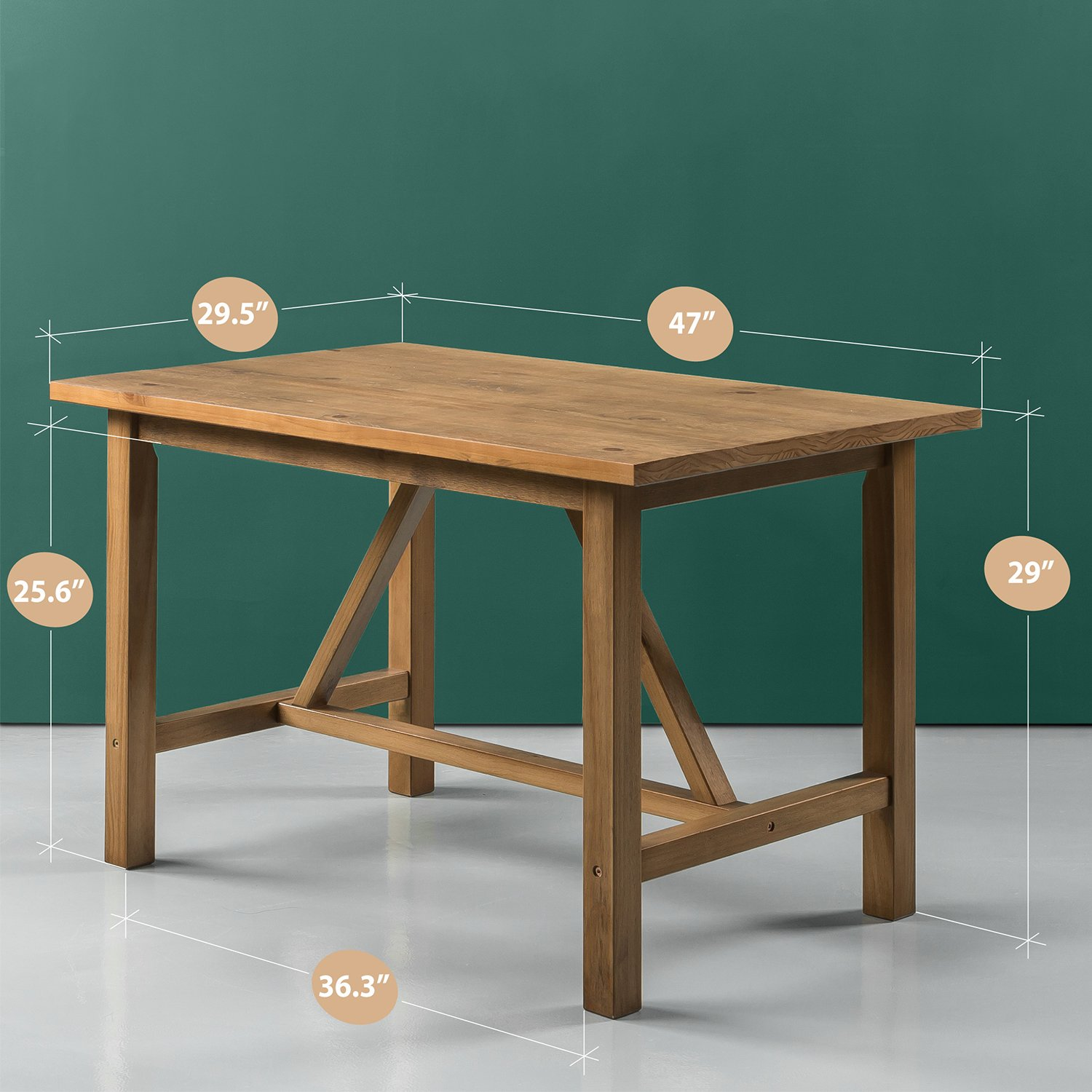 Zinus Brandon Detailed Dining Table in Natural Finish by Zinus (Image #2)