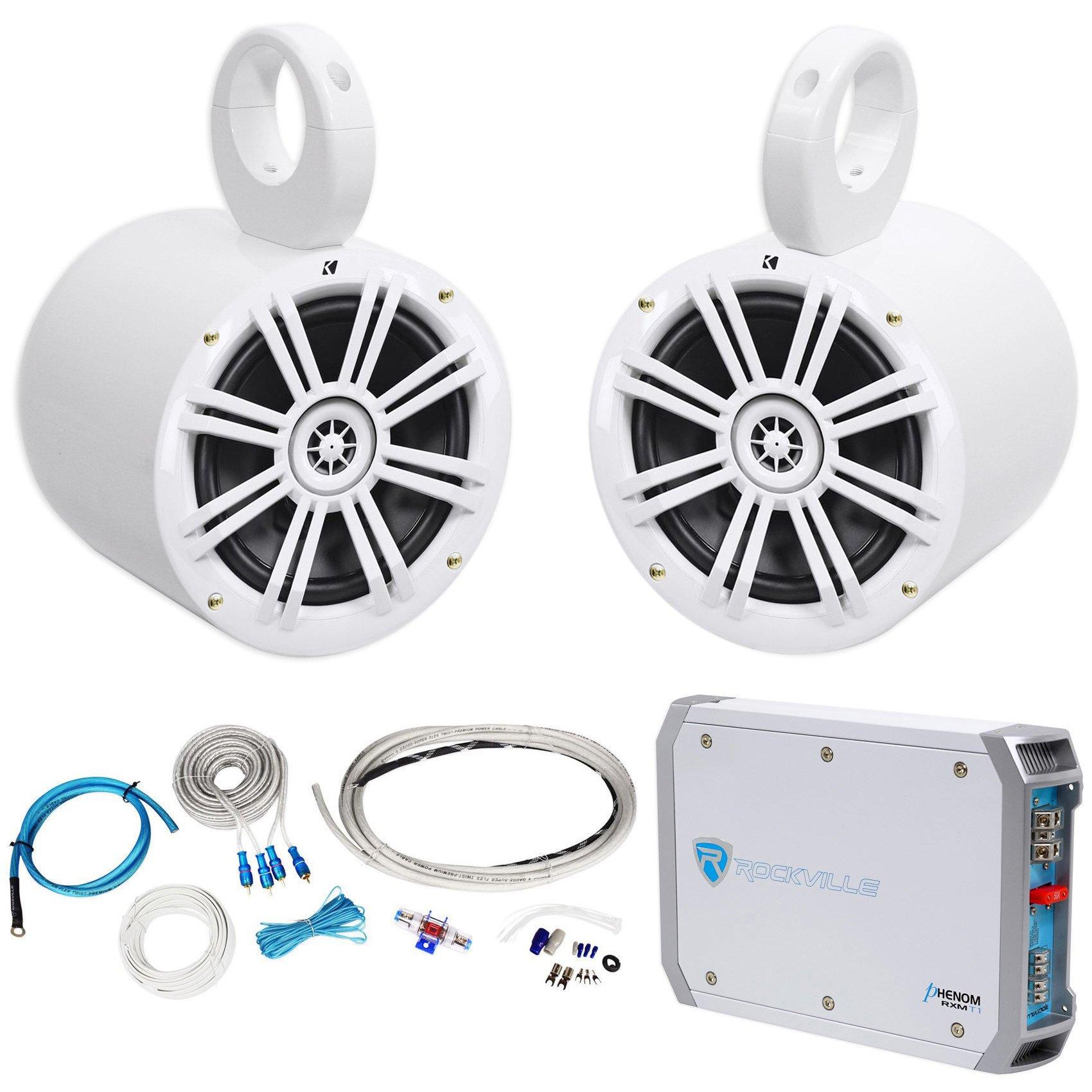 (2) Kicker 41KM604W 6.5'' 150w Marine Wakeboard Tower Speakers+Amplifier+Amp Kit