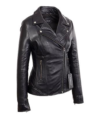 5f56d2ddce6b Corbani Womens Black Mid Length Asymmetrical Lambskin Real Leather Jacket  (X-Small