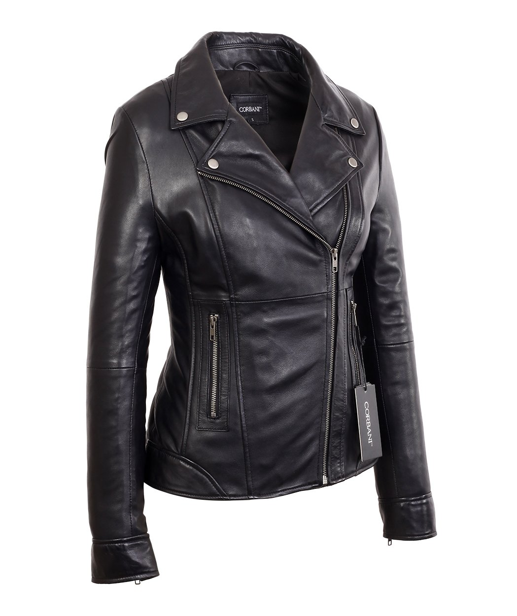 Womens Black Mid Length Asymmetrical Lambskin Real Leather Jacket (X-Large, Black)