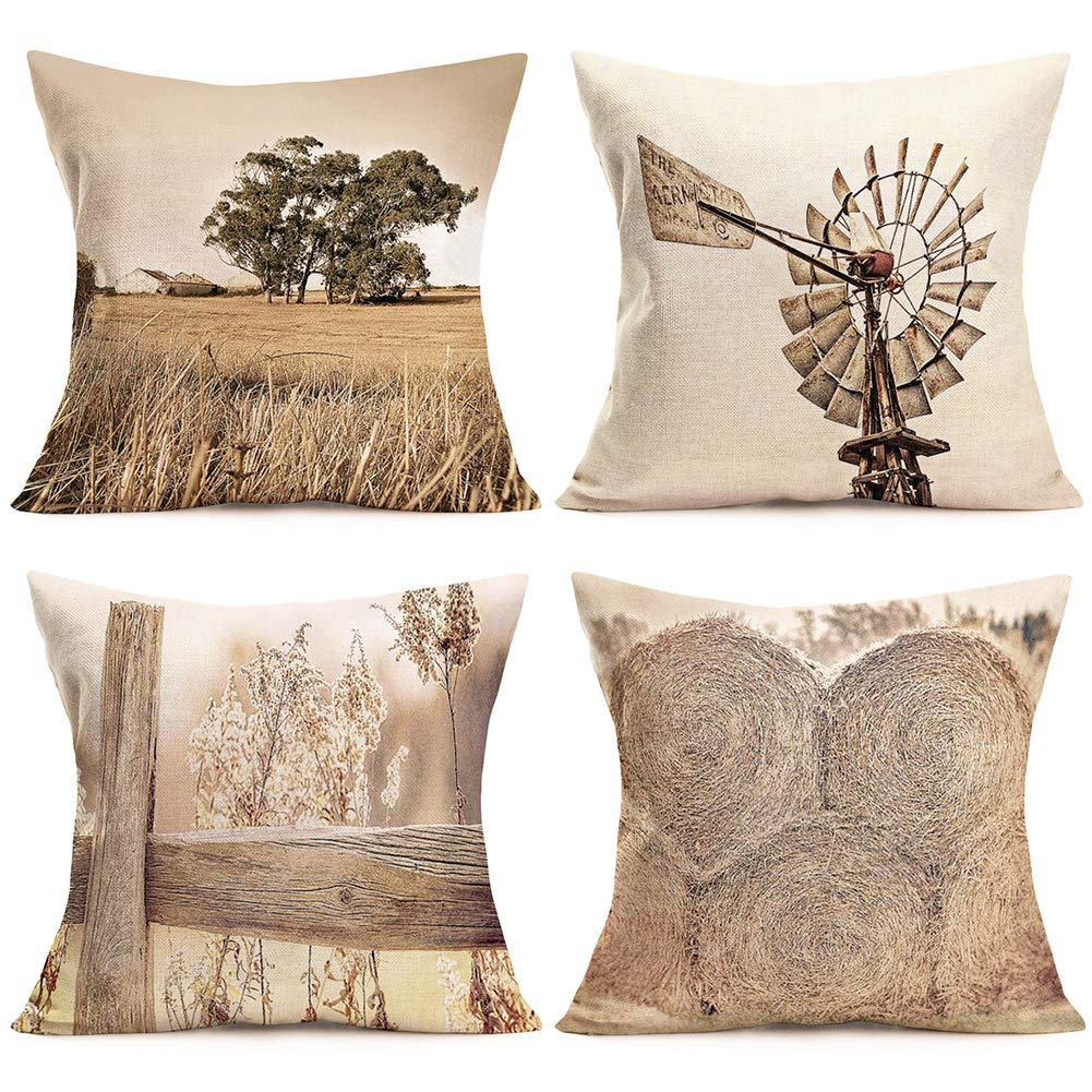 "ShareJ Pack of 4 Rural Farm Home Decor Pillowcase Vintage Windmill Haystack Design Cotton Linen Farmhouse Throw Pillow Case Cushion Cover 18""X 18"""