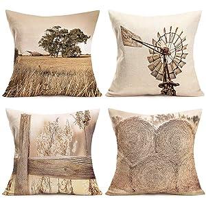 "ShareJ Pack of 4 Rural Farm Home Decor Pillowcase Vintage Windmill Haystack Design Cotton Linen Farmhouse Throw Pillow Case Cushion Cover 18""X 18"""