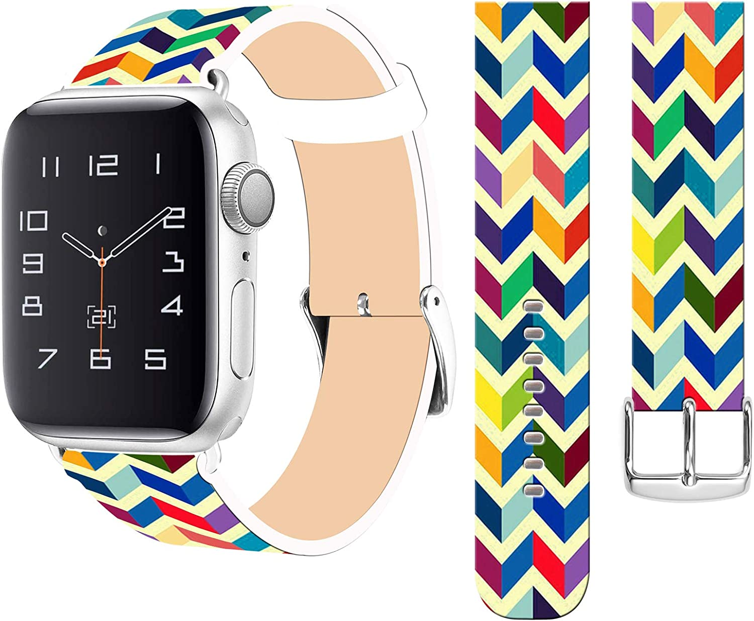 Strap Compatible for Apple Watch Series SE/6/5/4/3/2/1 38mm/40mm Pattern - ENDIY Designer Leather Fashionable Band Replacement for Iwatch Candy Rainbow Colorful Print Girly Design