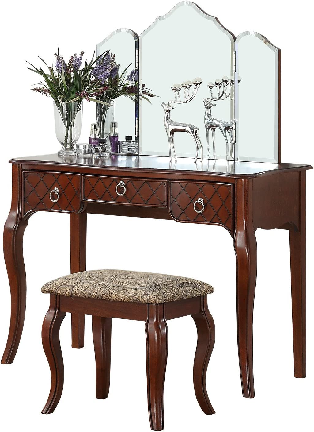 BOBKONA PDEX- Vanity Table With Stool Set, Cherry
