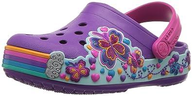 a493e6d34999a1 crocs Kids  Girls Crocband Rainbow   Butterfly Graphic Clog Amethyst ...