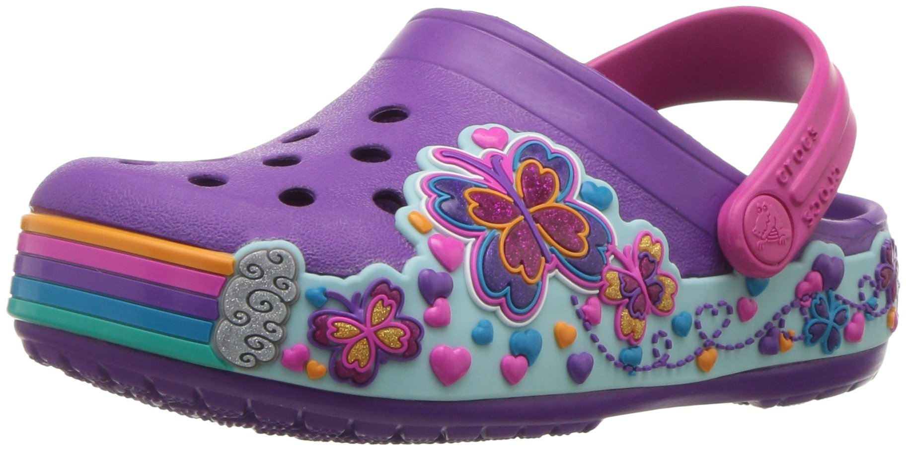 Crocs Unisex-Kids CB Fun Lab Graphic Clg K-Butterfly Clog, Amethyst, 10 M US Little Kid