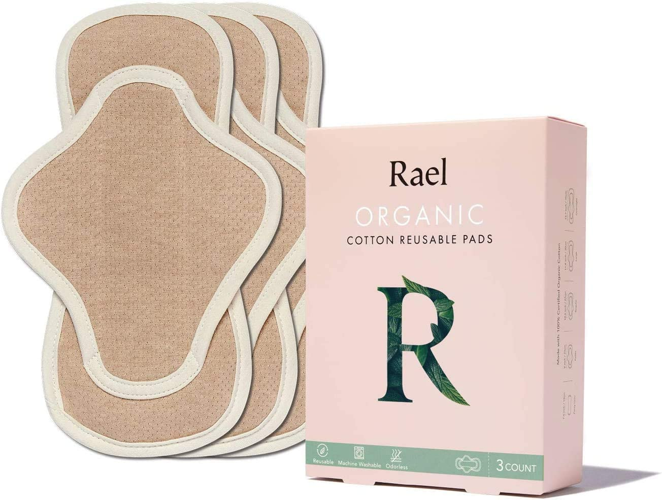 Hesta Organic Cotton PMS Relief Paño reutilizable Menstrual Sanitario 3 Almohadillas (Ala/Marrón, Delgado)